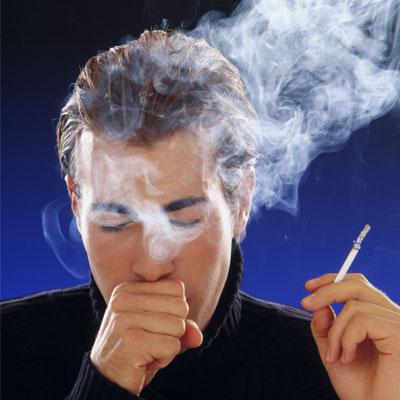 smoking man coughing